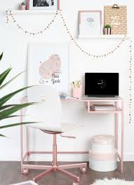 Ikea hack VITTSJ– laptop table desk sprayed with Rose Gold spray