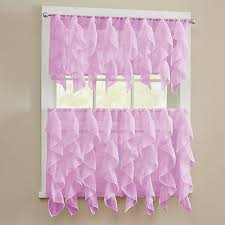 Pink Ruffled Window Curtains by Ruffle Curtains Valance Sheer Voile Vertical Ruffle Window