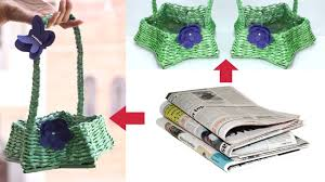 How To Make Newspaper Basket With Handle Waste Material Craft Idea