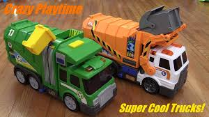 Awesome Toy Vehicles: 2 Battery Operated Garbage Trucks Unboxing And ...