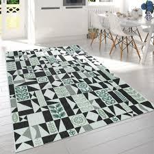 in outdoor teppich blumen motiv schwarz weiß