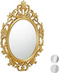 relaxdays barock spiegel ovaler spiegel zum aufhängen antik barock design mit rahmen flur bad wohnzimmer gold