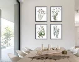 Flower Drawing Set Of 4 Prints Botanical Watercolor Dining Room Wall Art Gallery Print Wild Bright