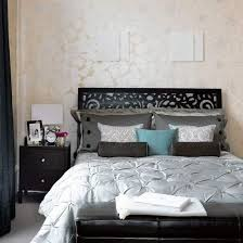 Silhouettes Design Bedroom Ideas For Young Women Decoration Black Curtain Leather Footboard Patterned Wallpaper Wooden Headboard