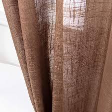 amhoo gardinen aus leinen transparent hochwertig schwer halbgardinen mit ösen voile vorhänge für wohnzimmer schlafzimmer braun 132 x 160 cm