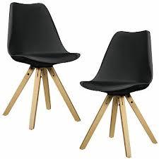 en casa 2x design stühle esszimmer schwarz stuhl holz plastik kunst leder