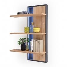 mca furniture portland wandregal por17t53 für ihr wohnzimmer oder esszimmer wandpaneel mit drei böden in asteiche bianco anthrazit