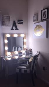 Bathroom Vanity With Built In Makeup Area by Diy Makeup Vanity Hollywood Mirror With Lights Black Silver