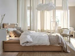 Ikea MALM High Bed Frame In Oak With Textiles White Beige And Light Brown