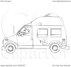 Cartoon Of An Outlined Man Driving A Class B Motorhome