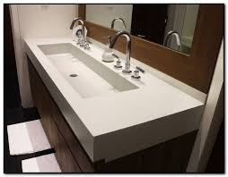Trough Sink With Two Faucets by Single Faucet Trough Sink Contemporary Bathroom Outstanding