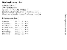 ᐅ öffnungszeiten wohnzimmer bar lohtorstraße 7 in heilbronn