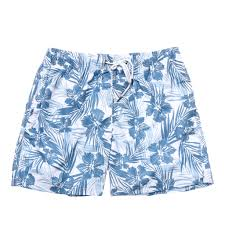 100 Coc Republic O Mens Leafy Hibiscus Board Shorts In Blue