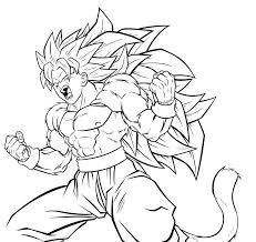 Dragon Ball Z Coloring Pages Goku Super Saiyan 3 Four Ready To Fight For Kids Printable