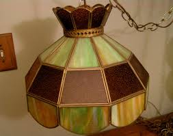 Tiffany Style Lamps Canada by Vintage Tiffany Style Stained Glass Hanging Light Swag Chandelier