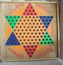 Vintage Star Chinese Checker Board Played Lots Of Checkers On A Wooden Like