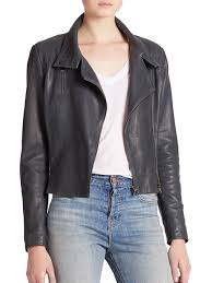 j brand connix leather jacket in blue lyst