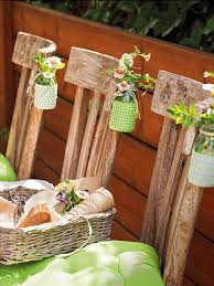 Diy Spring Table Decorations Wooden Chairs Baby Glass Jars Flowers
