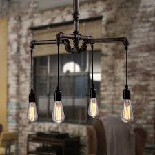 4 Light Retro Water Pipe Shaped Industrial Lighting