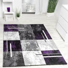 details zu designer teppich modern konturenschnitt meliert karo lila grau schwarz ausverkau