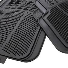 Oxgord Trim 4 Fit Floor Mats by Heavy Duty All Weather Rubber Black Mat 4 Pc Pads Car Floor Mats