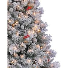 Snowy Dunhill Christmas Trees by Holiday Time Pre Lit 7 U0027 Westwood Pine Flocked Artificial Christmas