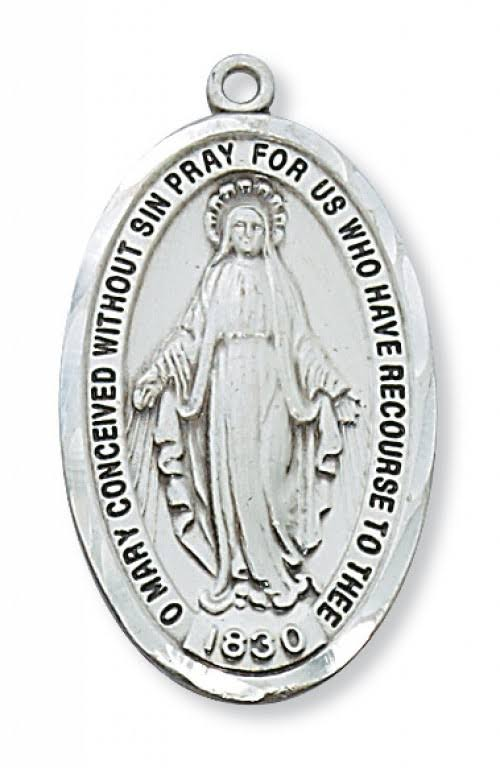 Mc Van Miraculous Medal On Chain - Sterling Silver, 24""