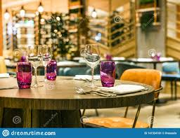 Restaurant Table Set Up For Casual Dining Meal Stock Image ...