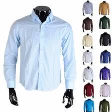 para hombre de lujo elegante camisa de vestir formal calce delgado