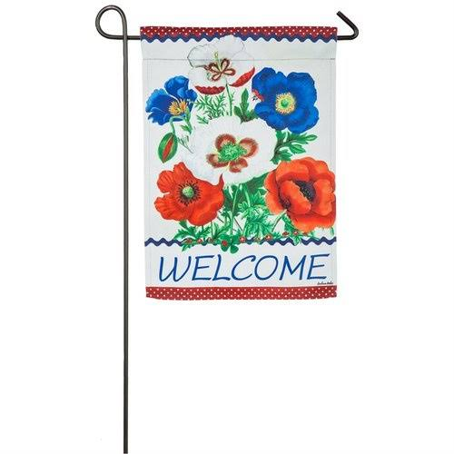 Floral Welcome Suede Garden Flag Evergreen Flag & Garden