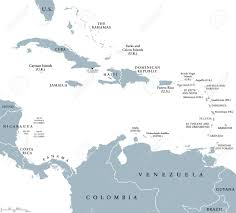 The Caribbean Countries Political Map With National Borders Sea Greater Lesser