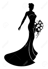 Bride in silhouette wearing a bridal dress wedding gown holding a bouquet of wedding flowers Stock