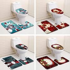 frohe weihnachten badezimmer set schneemann santa vater glocke elch muster wasserdichte dusche vorhang toilette abdeckung matte non slip teppich
