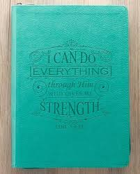 Lux Leather Journal In Turquoise I Can Do Everything Phillipians 413