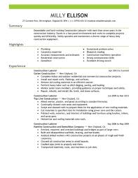 Best Construction Labor Resume Example