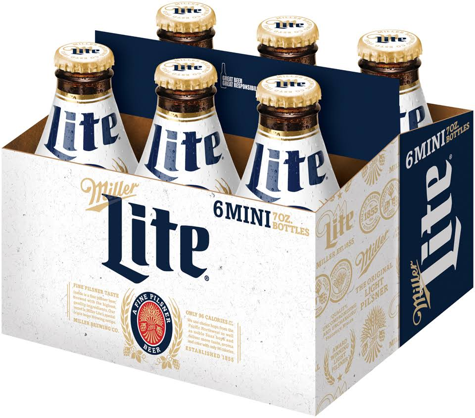 Miller Lite Beer 6-7 Fl. Oz. Glass Bottles