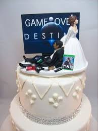GAME OVER Bride and Groom PlayStation Funny Wedding Cake Topper