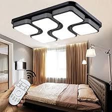 style home 36w led deckenle deckenleuchte voll dimmbar mit fernbedienung für wohnzimmer schlafzimmer küche rechteckig 6908c schwarz