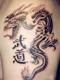 Japanese And Chinese Tribal Dragon Tattoos