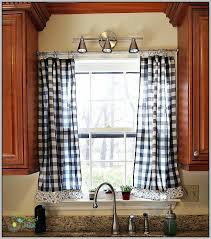 White Kitchen Curtains With Red Trim by Endearing Blue Plaid Kitchen Curtains Decorating With Red White