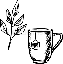Sketch Mug Of Tea Made With A Teabag Twig Fresh Leaves Isolated On White
