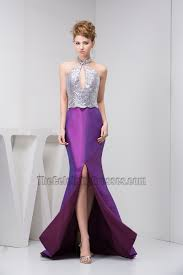 gorgeous halter silver and purple mermaid formal prom dresses
