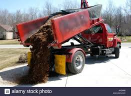 Dump Truck Drops Load Of Mulch For Use In Landscaping And Flower Beds Onto Cement Pad