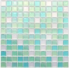 yoillione 3d fliesenaufkleber mosaik bad fliesenfolie küche selbstklebende 3d mosaik fliesen sticker grün wasserdicht fliesensticker aufkleber