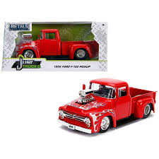 Shop 1956 Ford F-100 Pickup Truck With Blower Glossy Red With Flames ...