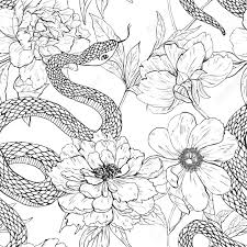 Tattoo Art Coloring Books Vintage Seamless Pattern Stock Vector
