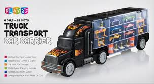 Toy Truck Transport Car Carrier 2-Sided Includes 6 Toy Cars And ...