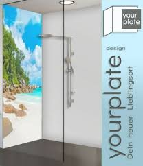 kachel dekore duschrückwand ecklösung alu verbund strand