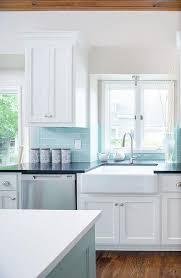 blue subway tile backsplash transitional kitchen