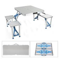 Aluminum Alloy Outdoor Portable Camping Picnic BBQ Folding Table Chair  Stool Set Fold Up Camping Table And Seats Lennov 4ft 12m Folding Rectangular Outdoor Pnic Super Tough With 4 Chairs 120 X 60 70 Cm Blue Metal Stock Photo Edit Camping Table Light Togotbietthuhiduongco Great Camp Chair Foldable Kitchen Portable Grilling Stand Bbq Fniture Op3688 Livzing Multipurpose Adjustable Height High Booster Hot Item Alinum Collapsible Roll Up For Beach Hiking Travel And Fishing Amazoncom Portable Folding Camping Pnic Table Party Outdoor Garden